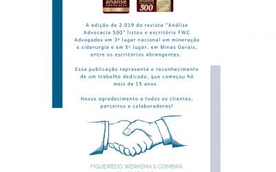 """Somos destaque na revista """"Análise Advocacia 500″"""