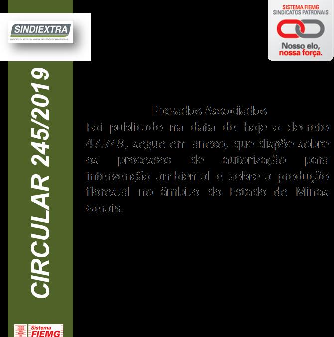 Circular 245.19 – Decreto Estadual 47.749 de 2019